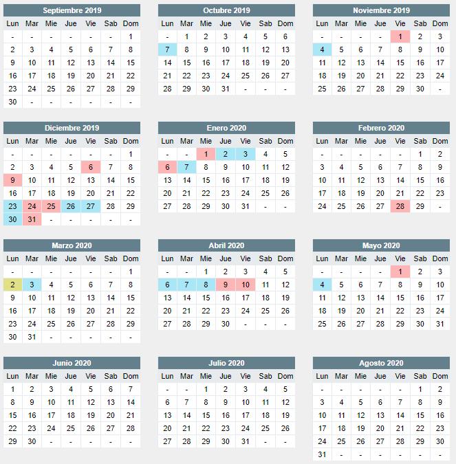 Calendario 2019/2020